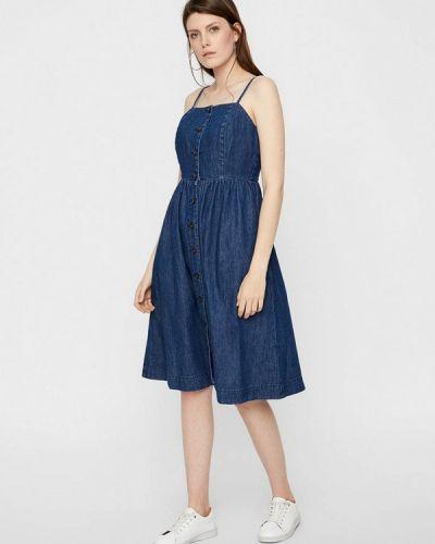 Джинсовое платье платье-сарафан синее Vero Moda