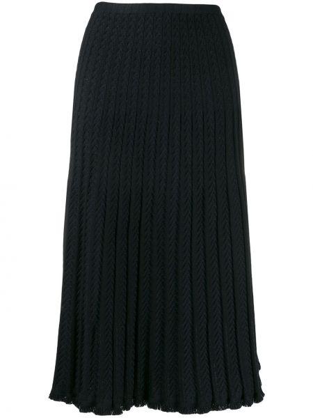 Шерстяная черная вязаная юбка с поясом Molli