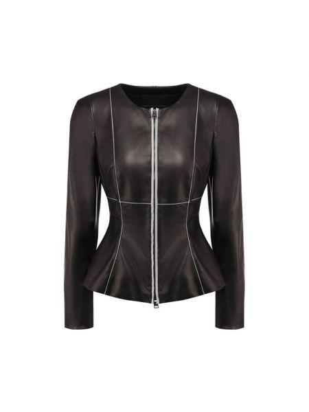 Приталенная кожаная куртка круглая свободного кроя с подкладкой Giorgio Armani