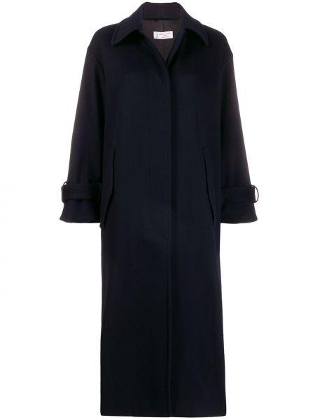 Синее шерстяное пальто классическое с капюшоном Alberto Biani