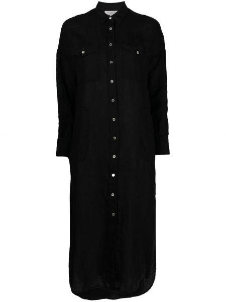 Черное платье макси с воротником на пуговицах Antonelli