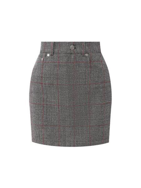 Шерстяная серая костюмная с завышенной талией юбка мини Helmut Lang