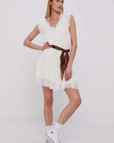 Biała sukienka mini z falbanami z wiskozy Hailys