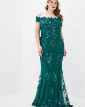 Вечернее платье осеннее зеленый Goddiva Size Plus