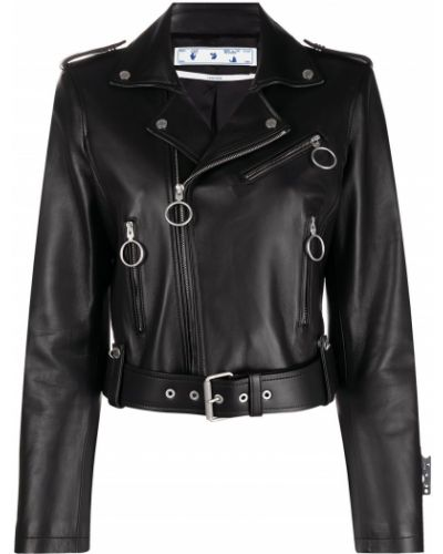 Черная кожаная длинная куртка байкерская Off-white