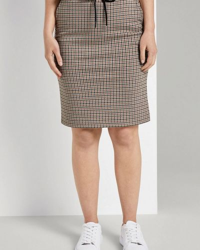 Коричневая прямая юбка карандаш Tom Tailor