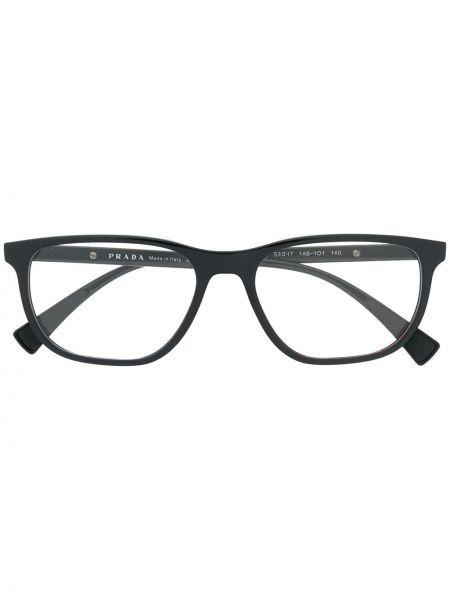 Prosto czarny oprawka do okularów plac wytłoczony Prada Eyewear