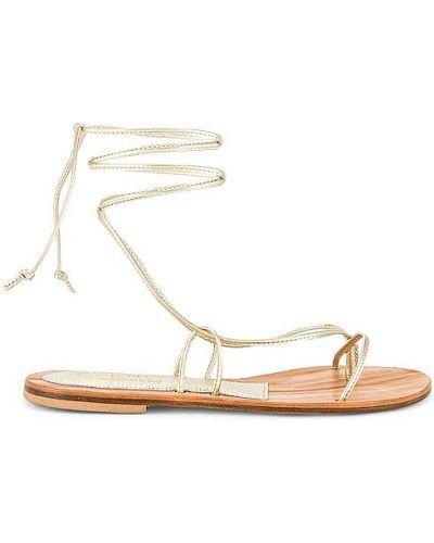 Złote sandały sznurowane koronkowe Cornetti