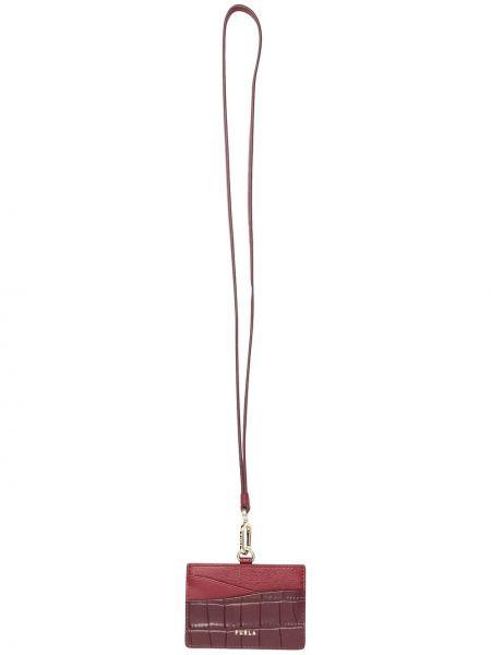 Красный кожаный кошелек на молнии Furla