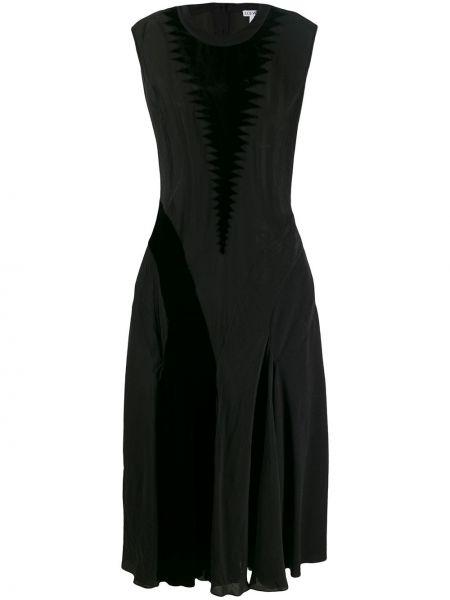 Шелковое платье макси - черное Loewe