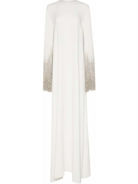 Шелковое платье макси с бахромой с вырезом Oscar De La Renta