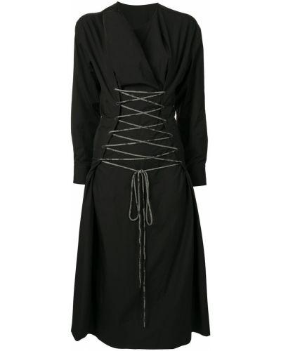 Czarny bawełna z rękawami sukienka midi okrągły Yohji Yamamoto