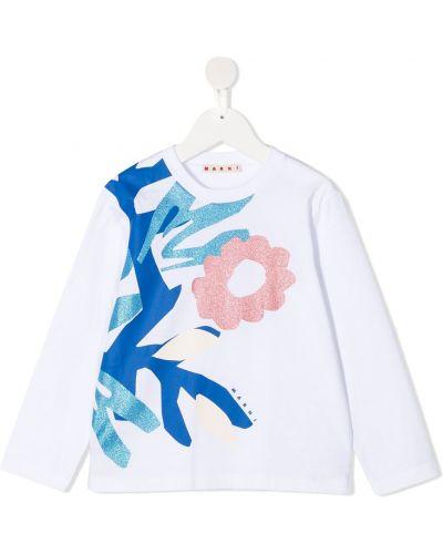 Белая прямая рубашка круглая с длинными рукавами Marni Kids