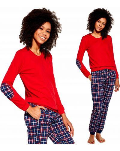Czerwona piżama bawełniana z długimi rękawami Cornette