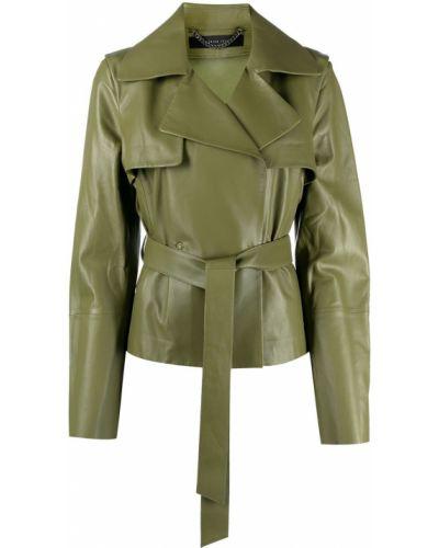 Зеленый кожаный удлиненный пиджак с поясом Federica Tosi