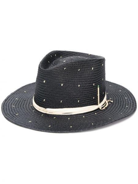 Плетеная черная шляпа с широкими полями свободного кроя Nick Fouquet