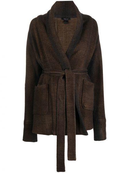 Шерстяная ватная черная длинная куртка с лацканами Avant Toi