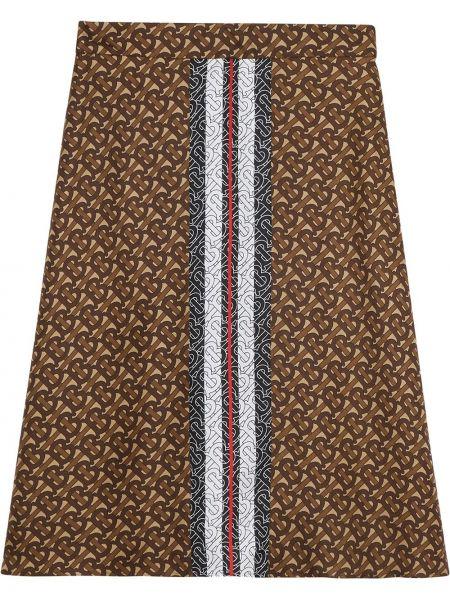 Шелковая коричневая ажурная юбка макси Burberry