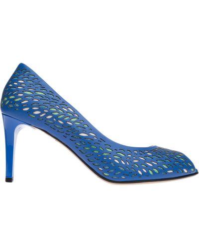 Туфли на каблуке кожаные синий Marino Fabiani