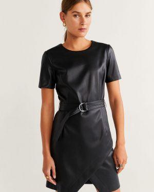 Платье мини кожаное с поясом Mango