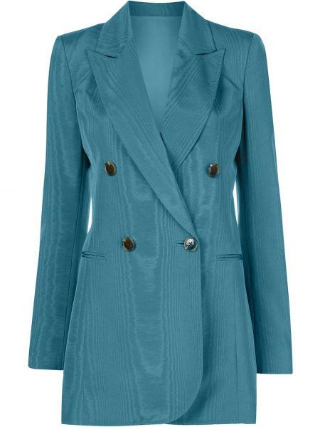 Синий удлиненный пиджак двубортный из вискозы на пуговицах Oscar De La Renta