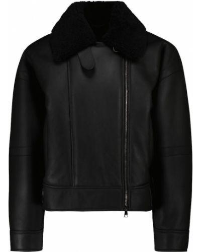 Черная кожаная куртка классическая Max Mara