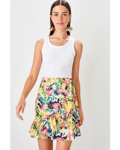 Biała spódnica mini z falbanami Trendyol