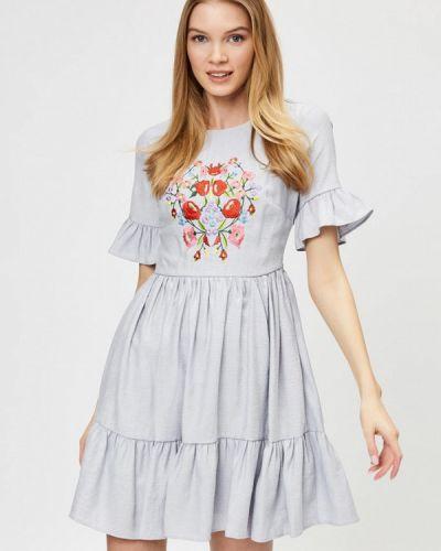 Платье серое прямое D'she