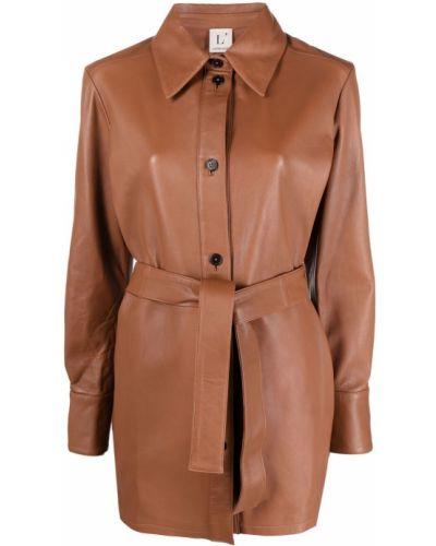 Коричневое пальто классическое с воротником с поясом Lautre Chose