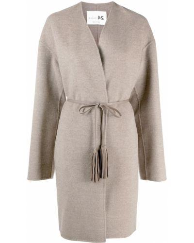 Коричневое кашемировое пальто классическое с капюшоном Manzoni 24