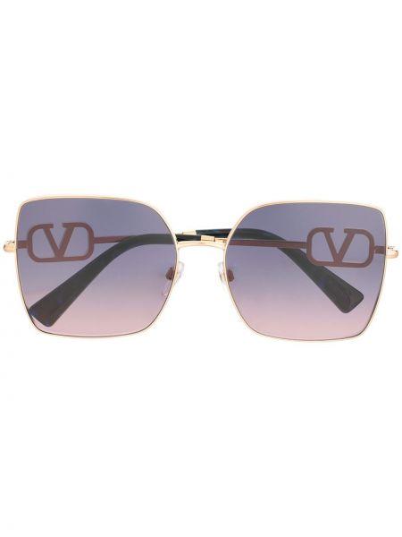 Золотистые желтые солнцезащитные очки квадратные металлические Valentino Eyewear