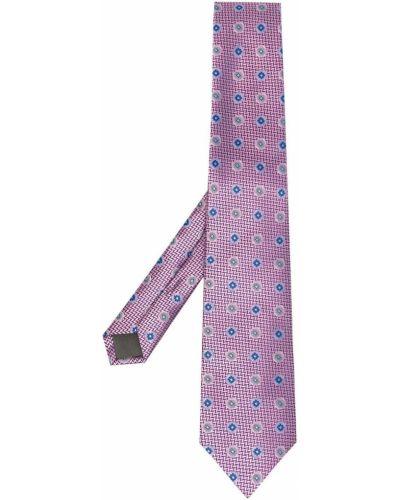 Krawat z printem - różowy Canali