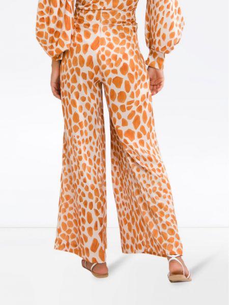 Шелковые оранжевые свободные брюки свободного кроя с высокой посадкой Patbo