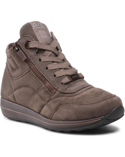 Buty sportowe skorzane - brązowe Ara