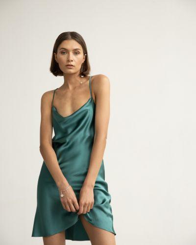 Шелковое синее платье мини с вырезом Serenity