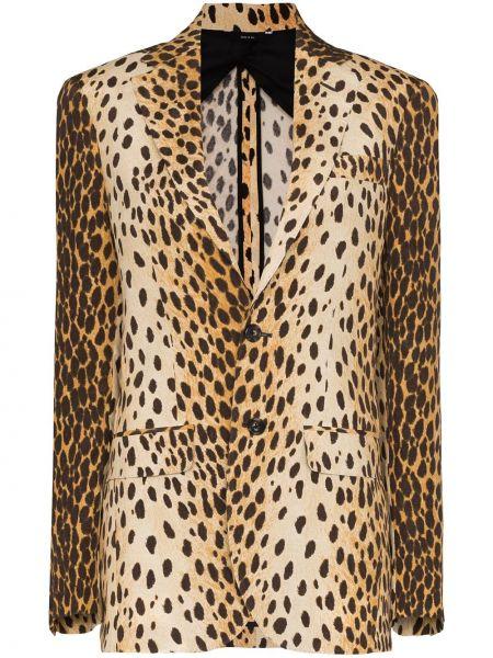 Коричневый пиджак с карманами на пуговицах R13