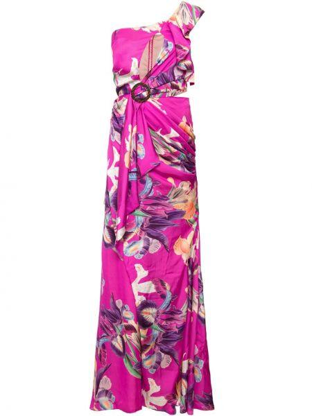 Розовое платье макси на одно плечо с драпировкой на молнии Patbo