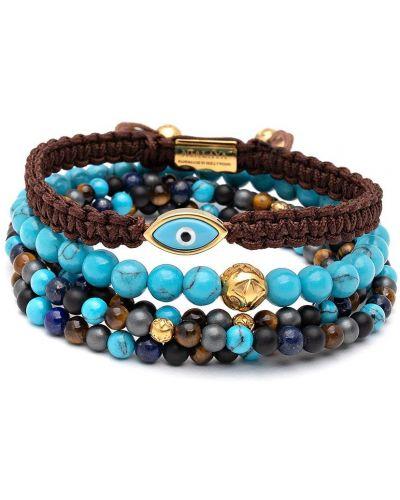 Złota bransoletka z koralikami pozłacana turkusowa Nialaya Jewelry