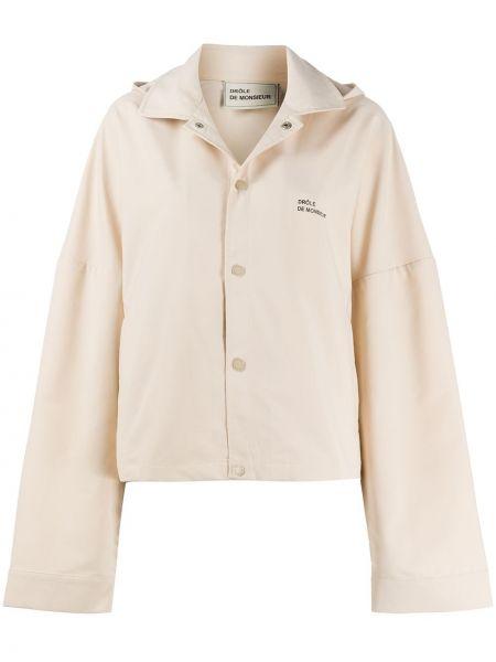 Водонепроницаемая прямая куртка с капюшоном мятная на кнопках Drôle De Monsieur