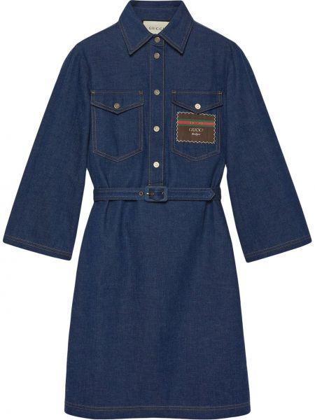 Расклешенное джинсовое платье на пуговицах с воротником с нашивками Gucci