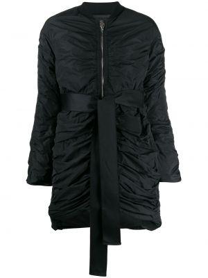 С рукавами черное длинное пальто с капюшоном Giambattista Valli