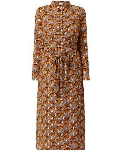 Pomarańczowa sukienka rozkloszowana z długimi rękawami Vila