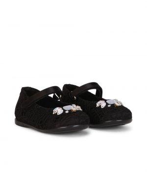 Czarne balerinki skorzane koronkowe Dolce & Gabbana Kids