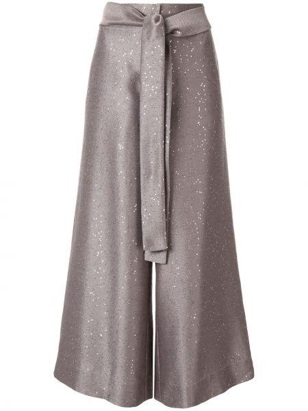 Розовые укороченные брюки с пайетками с поясом свободного кроя Paskal