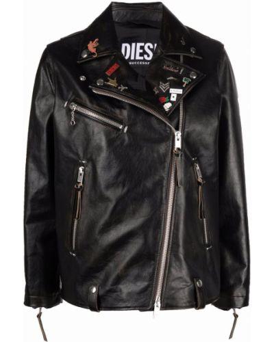 Черная куртка байкерская на молнии с воротником Diesel