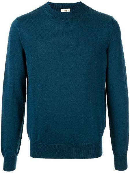 Prążkowany pulower wełniany z haftem Kent & Curwen