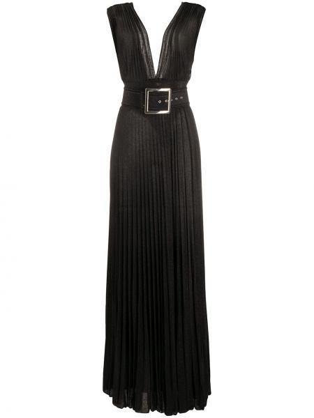 Платье макси с декольте плиссированное Elisabetta Franchi