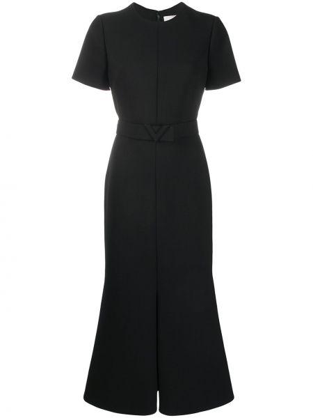 Платье с поясом с рукавами черное Valentino