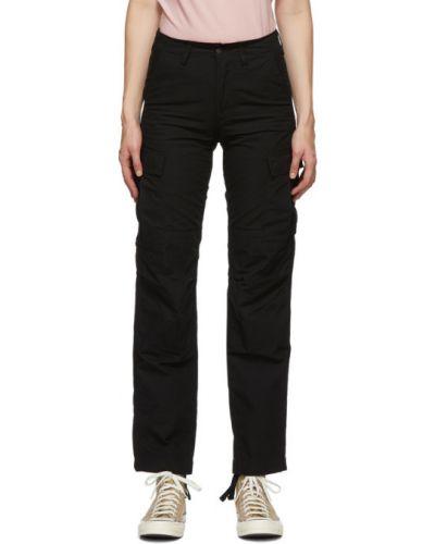 Bawełna czarny spodnie o prostym kroju z kieszeniami z mankietami Carhartt Work In Progress