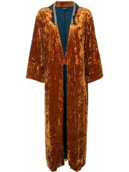 Бархатное оранжевое длинное пальто с капюшоном Muller Of Yoshiokubo